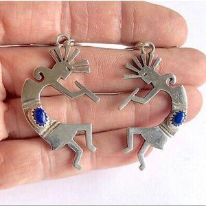 Sterling Silver Kokopelli Lapis Dangle Earrings